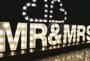 Light Up Letters Wales Mr & Mrs